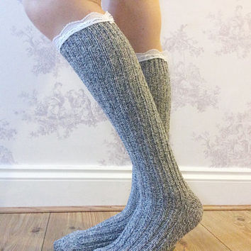 Navy Boot Socks, Crochet Lace Socks, Wool Blend Knitted Socks, Leg Warmers, Winter Wear, Fashion Accessory, Fashion Socks. Wool Stockings.