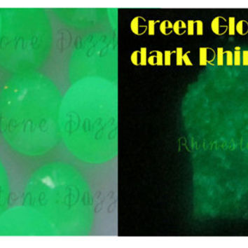 Green Glow In The Dark Rhinestones, ss16, 4mm, Flat Back, Glow in the Dark Rhinestones