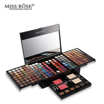 Miss Rose Professional 190 Colors Makeup Palette Matte&Shimmer Eyeshadow+Prower+Blush+Eyebrow Makeup Case With Cosmetic Brushes