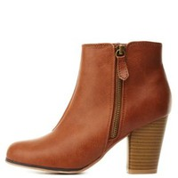 Cognac Qupid Zip-Up Chunky Heel Booties by Qupid at Charlotte Russe