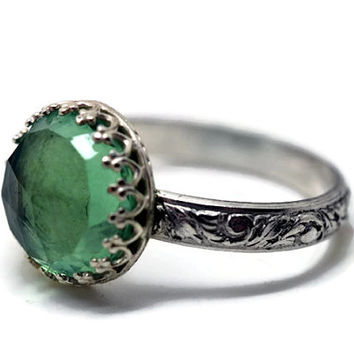 Large Green Fluorite Ring, Renaissance Style Jewelry, Floral Band, Natural Gemstone Ring