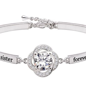 "Jewelry Sterling Silver ""always my sister forever my friend"" Cubic Zirconia Bracelet"