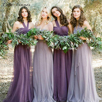 C.V Greece style long tulle Bridesmaid dresses 2017 custom made plus size many colors bandage banquet bridal formal dresses