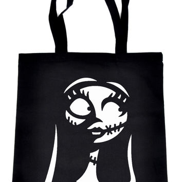 For The Love For Sally on Black Tote Book Bag Nightmare Before Christmas Handbag