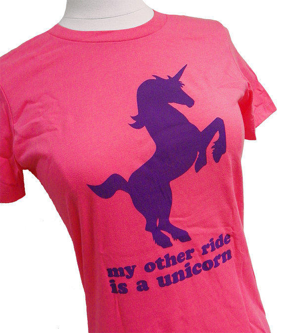 My Other Ride is a UNICORN Ladies Pink T-Shirt - (Sizes S, M, L, XL)