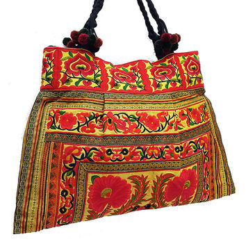 Thai Hill Tribe Bag Pom Pom Hmong Embroidered Ethnic Purse Woven Bag Hippie Bag Hobo Boho Bag Shoulder Bag Gold Yellow Orange