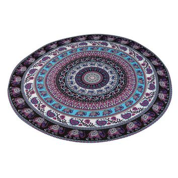 Intricate Design Multifunction Round Beach Pool Home Shower Towel Blanket Table Cloth Yoga Mat