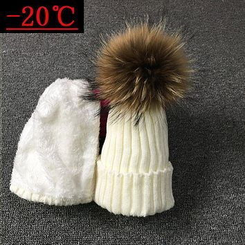 2018 Children Real Raccoon Fur Ball hats Plus velvet Winter Hat Cap For Kids Boy Girl Warm Fur Pom Poms Ski Hat Fur Pompoms Hat