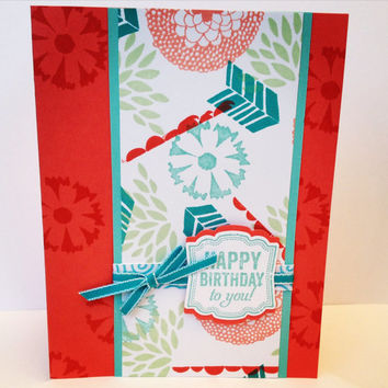 Stamped card, happy birthday, coral red, teal blue, mossy green, turquoise ribbon, birthday card, greeting card, handmade card