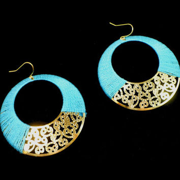 Large Aqua & Gold Earrings, Gold Filigree with Turquoise Thread, Pierced Gypsy Boho Style, Large Dangle, Summer Beach Jewelry, Gift For Her