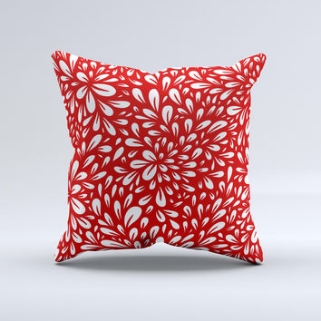 Bright Red and White Floral Sprout ink-Fuzed Decorative Throw Pillow