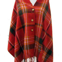 Plaid Button Scarf Red