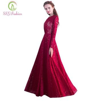 New Sexy Evening Dress Bridal Lace Pattern Button Sexy Wine Red Long Prom Dress Custom Party Formal Gown