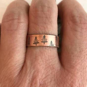 Copper Pine Tree Ring, hand stamped forest trees adjustable thin narrow band cuff unisex birthday gift gifts for her him