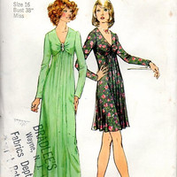 Simplicity Sewing Pattern 70s Disco American Hustle Style Cocktail Dress Evening Gown Plus Size Full Figure Bust 38 Uncut