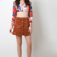 Women's Button Front Corduroy Skirt