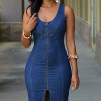 Faddish Denim Gold Zipper Front Midi Dress