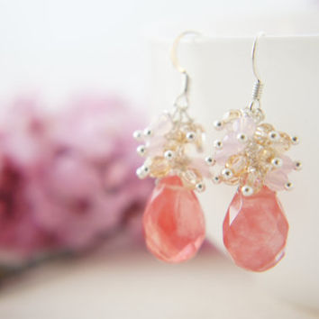 Cherry quartz with light golden shadow and pink opal Swarovski dangling earrings, spring wedding, bridesmaid, gift
