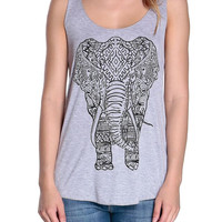 Gray Elephant Print Tank By NRFB