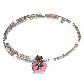 Plus Size Elegance Pink Beach Bag Themed Pastel Mix Glass Beaded Artisan Crafted Stackable Wrap Bracelet (L-XXL)