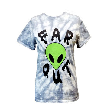Far Out T-Shirt - Marble Dyed Alien Shirt - Screen Printed T-Shirt Tie Dye - Alien T-Shirt - Soft Grunge - Small- Medium- Large