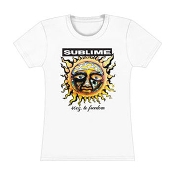 Sublime  40 Oz. To Freedom Girls Jr Tissue Tee White Rockabilia