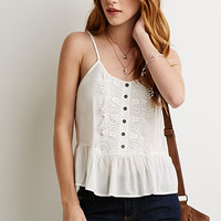 Embroidered Button-Down Cami