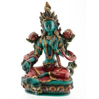 Green Tara Female Deity of Youth, Vigor and Enlightened Activity Statue (Figurine) in Full Vajra Posture