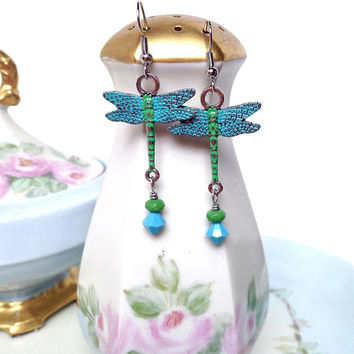 Patina'd blue and green dragonfly earrings with crystal drops, dragonfly jewelry, hand painted metal dragonfly dangle earrings, gift for her
