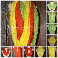 LADIES Spring Apple Green, Lemon Yellow, and Tangerine Orange Crochet Hacci Sweater Knit Infinity Scarf Easter Photos Women's Accessories