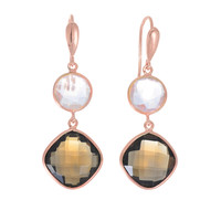Rose Quartz And Cushion Cut Smokey Quartz Earrings Set In Rose Gold Plated Sterling Silver