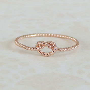 Rose Gold Ring, Knot Ring, Love Knot Ring, Gold Memory Ring, Tie the Knot Ring, Engagement Ring, Promise Ring, Love Ring, Daughter Ring