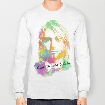 Colorful Kurt Donald Cobain Long Sleeve T-shirt by Nirvana.K