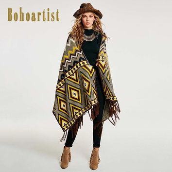 Women Autumn Cape Yellow Geometric Pattern Print Patchwork Tassel Up Elegant Wrapped Shawl Winter Scarf Cape New