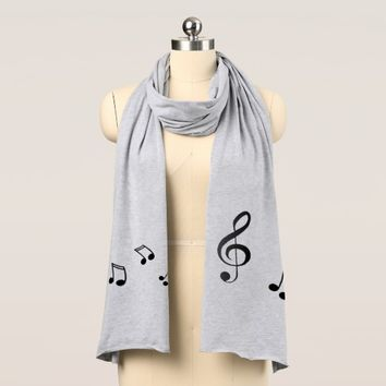 Stylish Music Notes Clef Jersey Scarf