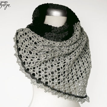 Crochet lace scarf with lace trim multicolor charcoal gray black silver gray wrap shawl