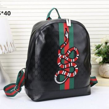 Gucci Women Men Fashion Personality Classic Print Multicolor Stripe Snake Pattern Embroidery Backpack Large Capacity Double Shoulder Bag-1