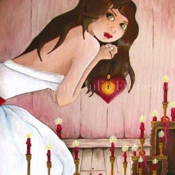 Valentine Shrine, Fantasy Art Print, Big Eye, White Witch, Lowbrow Artwork, Red Candles, Spell Art with Hearts, Signed by Julia Finucane