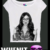 Selena Gomez exclusive hand print tank top women t shirt 20383