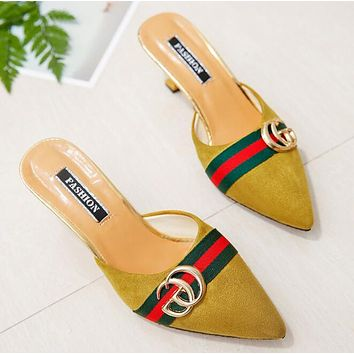 "Hot Sale ""GUCCI"" Popular Women Suede Metal Pointed High Heels Sandals Yellow"