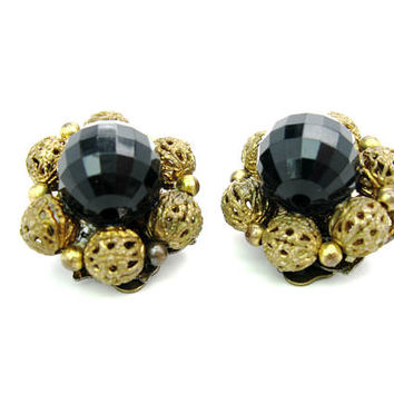 Black & Filigree Earrings Signed Lisner Flower Clusters Lucite Faceted Beads Gold Gilt Clip On Vintage 1960s Hollywood Regency Jewelry.