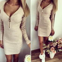V-neck zipper tight dress-2