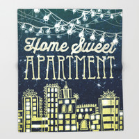 Home Sweet Apartment Throw Blanket by Jenndalyn | Society6