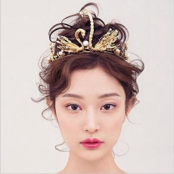 A Vintage Style Handmade Gold Pearl & Swan Tiara Pageant Wedding Crown