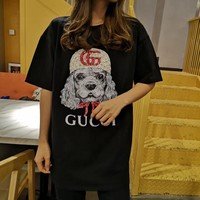 """Gucci"" Women Casual Fashion Letter Dog Head Pattern Short Sleeve T-shirt Top Tee"