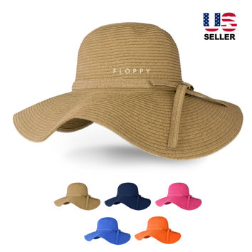 Floppy hat large wide brim Women Folding Summer Beach Sun Straw Derby Visor