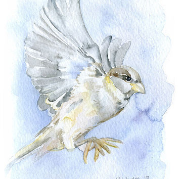 Sparrow Watercolor Painting - 5 x 7 - Giclee Print - His Eye Is on the Sparrow - Encouragement Print