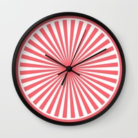 Coral Pattern with White Circle Wall Clock by Lena Photo Art | Society6