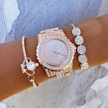 Rose Gold Crown Watch & Bracelet Set