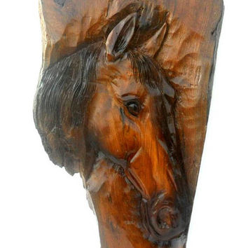 "Horse Head Wood Carving Natural Teak Wood Hand Carved Horse Head Rustic Driftwood Reclaimed Wall Hanging Home Art Decor / Gift 20""X10.75"""